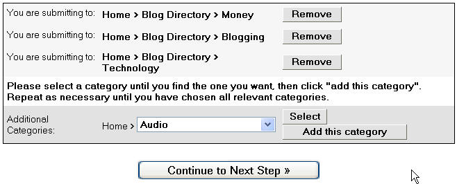 Blog category selection