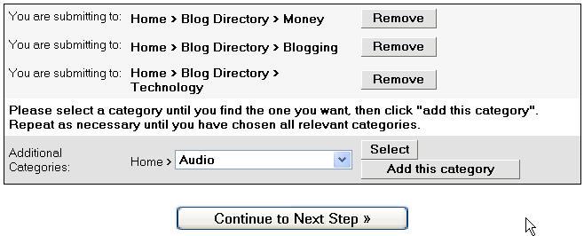 Blog category selection