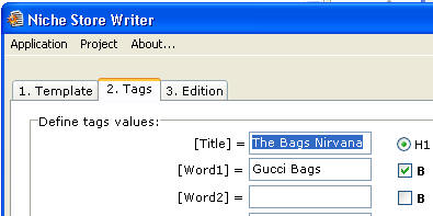 Niche Store Writer - Step 2: Tags