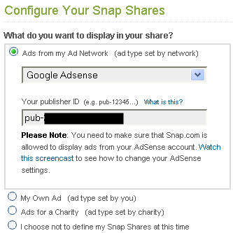 Snap Shares with Adsense